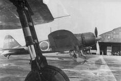 """Fighters A6M3 «Zero"""" model 22 on the Japanese airbase"""