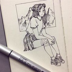 Hope you can tell that the background is supposed to be mountains . . . . . #traditionalart #fineliner #moleskine #artoftheday #artist_4_shoutout #moleskine #drawing #sketch #doodle #instaart #ink #character #illustration #drawingoftheday #myart
