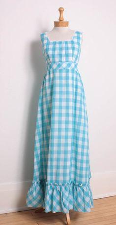 vintage 1960s gingham maxi dress