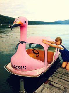 pink bird boat.