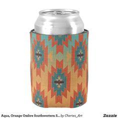 Aqua, Orange Ombre Southwestern Style Can Cooler