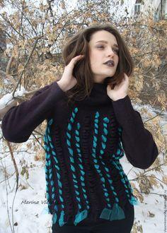 Купить Свитер валяный Бирюзовая лента - комбинированный, черничный, черничный цвет, свитер, свитер валяный