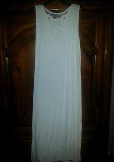 Jane Ashley Laser Cut Embroidered Long White Summer Dress Sz M 8 10 SHIPS FREE #JaneAshley #Sundress