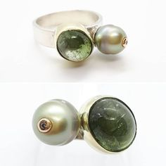 Zilveren ring met tahitiparel en in goud gezette toermalijn en diamant Pearl Earrings, Pearls, Jewelry, Pearl Studs, Jewlery, Jewerly, Beads, Schmuck, Jewels