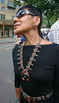 Chasing Santa Fe: Snapshots at the Santa Fe Indian Market Cowgirl Chic, Cowgirl Style, Coral Turquoise, Turquoise Jewelry, Fashion Belts, Fashion Accessories, Southwest Jewelry, Southwestern Style, Silver Jewellery Indian