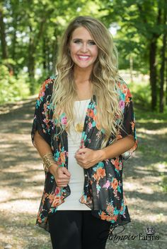 Southern Rose Kimono is sweet southern style! This sheer kimono features a gorgeous floral print in shades of orange, pink and green on a black background. Mom Outfits, Summer Outfits, Cute Outfits, Floral Kimono Outfit, Glamour Farms, Chiffon Cardigan, Casual Looks, Floral Prints, Orange Pink