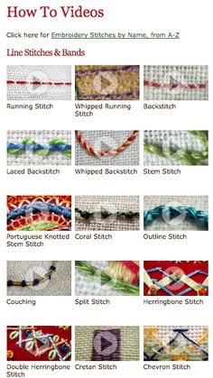 Video library of about 100 embroidery stitches.