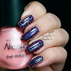 Lucy's Stash - Tribal Print Nail Art - http://yournailart.com/lucys-stash-tribal-print-nail-art/ - #nails #nail_art #nails_design #nail_ ideas #nail_polish #ideas #beauty #cute #love