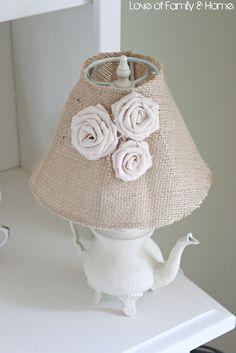 teapot, burlap lamp