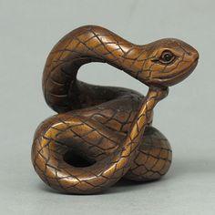 Boxwood Wood Netsuke SNAKE Figurine Carving