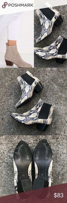 """Sam Edelman Reesa Leather Python Boots, Worn Once Nearly new, only worn once. Flawless aside from scuffing on sole. Gorgeous python style leather booties with elastic goring on either side of ankle. 2"""" stacked block heel. Sam Edelman Shoes Ankle Boots & Booties"""