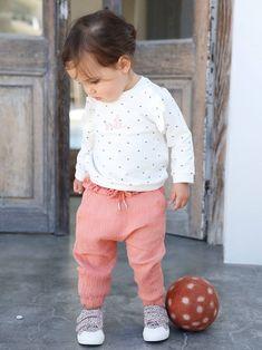 Pantalon taille élastiquée bébé fille - bois de rose+vert céladon - 2