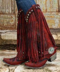 Gorgeouse+Lane+Boots+For+DD+Ranch+Prescott+Fringed+Cowgirl+Boots+Red+++ - Boots Red Cowgirl Boots, Cowgirl Chic, Cowgirl Style, Western Boots, Fringe Cowboy Boots, Fringe Boots Outfit, Western Style, Western Wear, Bota Country