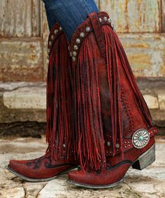Prescott Fringed Boot. Red fringe, silver, and turquoise details.