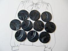 Vintage Lot of 10 Dark Grey Carved Bakelite Buttons