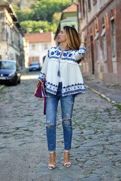 Embroidedred jacket - Galería del estilo & Lookbook de SheIn es