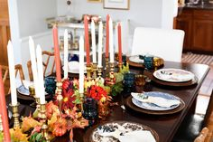Vintage Inspired Thanksgiving Tablescape wiht English plates, brass candlesticks and Vintage indiana glasses