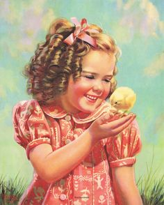 Shop Vintage Child, Happy Smile, Girl with Baby Chick Postcard created by YesterdayCafe. Personalize it with photos & text or purchase as is! Vintage Children's Books, Vintage Girls, Vintage Art, Clipart Vintage, Images Vintage, Vintage Pictures, Art Calendar, Vintage Easter, Cute Illustration
