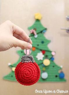 Christmas Bauble Ornaments Crochet Pattern Flatland Christmas Baubles Crochet Pattern - Once Upon a Cheerio Crochet Christmas Decorations, Crochet Christmas Ornaments, Crochet Decoration, Holiday Crochet, Christmas Knitting, Christmas Baubles, Crochet Gifts, Christmas Fun, Christmas Sewing