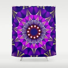 Groovy mandala with circles patterns Shower Curtain