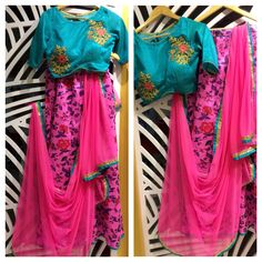 Printed floral pink Lehenga with sea green silk Embroidered blouse