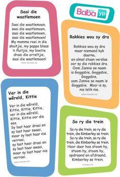 Hier's die woorde van al die ou bekende Afrikaanse rympies en liedjies, in pragtig ontwerpte drukstukke deur Baba & Kleuter! Toddler Learning Activities, Infant Activities, Classroom Activities, Early Education, Kids Education, Motivation For Kids, Classroom Expectations, Kids Poems, Rhymes Songs