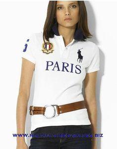 Cheap Discount Womens Ralph Lauren Polo Custom-Fit City Polo Shirts Paris  White Outlet Sale f6c8c73691b
