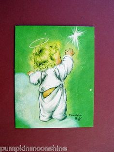 Vintage Charlot Byj Byi Xmas Greeting Card, Angel Reaching for a Star, Adorable
