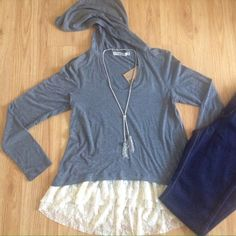 Hooded Lacey Top Brand new, gray hooded top with lace hem.  Juniors size large.  From a smoke-free home | No trades | No PayPal | No Mercari | Bundle discounts | Make me an offer! Chance or Fate Tops
