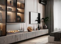 "apartment in Moscow ZHK ""Yaroslavskiy"" on Behance Living Room Wall Units, Living Room Shelves, My Living Room, Living Room Decor, Home Room Design, Living Room Designs, Home Interior Design, Small Apartment Interior, Living Room Interior"