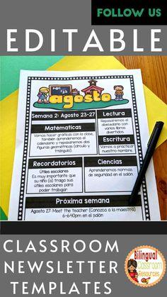 Bilingual Classroom, Bilingual Education, Classroom Language, Classroom Newsletter Template, Newsletter Templates, Meet The Teacher, Behavior Management Strategies, Classroom Management, Class Activities