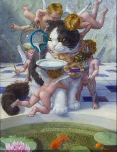 "The Scottish fold living the life. (""猫のなりわい / The occupation of a cat"" 2010, oil on canvas)"