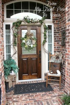 From My Front Porch To Yours: Simple Spring Front Porch  Like the chair idea. Always see people  throwing them out. I have to pick one up