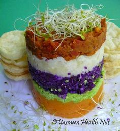 Vegan Peruvian Causa: a layered Potato and Vegetable Salad Cake (tomatoes, potatoes, purple cabbage, edamame or green peas, sweet potato and sprouts. Omit oil. GF/SF/CF/DF/YF/OF/oat-free/sugar-free