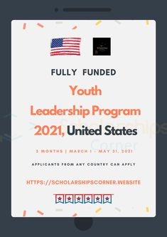 Duration: 3-Months in Washington D.C  Financial Support: Monthly stipend, Health insurance, Free roundtrip tickets, Office and free accommodation  For more info,visit   Deadline: July 1st, 2020  #YouthLeadership #Leaderhsip #USA #ScholarshipsCorner Youth Leader, Leadership Programs, Try Harder, Health Insurance, 3 Months, Washington Dc, Programming, How To Apply, United States