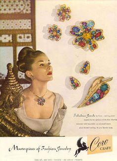 Coro Sterling Rhinestone Leaf Pin Brooch Earrings Set 1940's Ad Pc