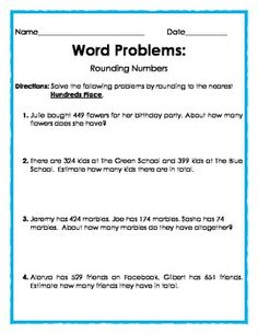 FREE - Word Problems: Rounding to the Nearest Hundreds Place - 2 pages