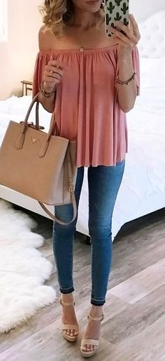 #summer #outfits Pink Off The Shoulder Top + Skinny Jeans + Beige Wedge
