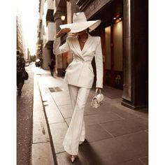 Ladies Elegant Simple White Suit Suit