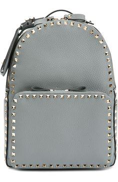 Valentino Кожаный рюкзак Rockstud Серый 151 000 Р.