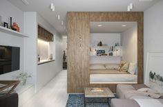 chambre adulte originale en longueur aux murs blancs