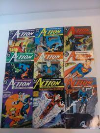 NICE 9 COMIC LOT -  ACTION COMICS - SUPERMAN #610-623 (DC 1988) *FREE SHIPPING* GREEN LANTERN,