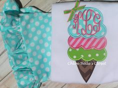 Ice cream cone ruffle shirt with monogram by juliesonny on Etsy, $25.00