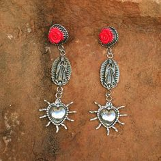 E195 In Guad We Trust Coral Rose Guadelupe and Sacred Heart Sterling Silver Earrings on Etsy, $348.00