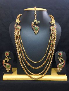 Wedding Necklace Set CZ Gold Plated Indian Bollywood Style Long Necklace Set #natural_gems15 #NacklacePendant