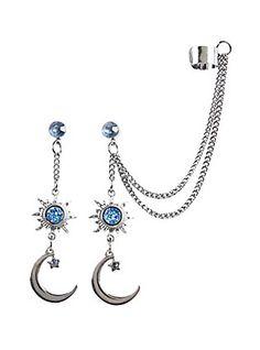 Blackheart Hematite Sun Moon Drop Earring Cuff Set Hot Topic INR) ❤ liked… Cuff Jewelry, Chain Earrings, Jewelry Accessories, Tribal Earrings, Jewlery, Blue Drop Earrings, Grunge Jewelry, Jugend Mode Outfits, Blue Charm