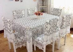 Desktop home decor fashion lace cloth dining table cloth cover tablecloth dining chair set 4 style chair covers free shipping $29.99