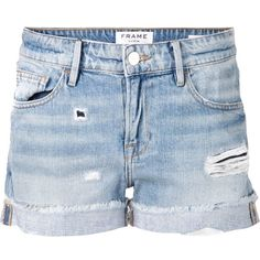 FRAME Denim Distressed Short (415 BRL) ❤ liked on Polyvore featuring shorts, bottoms, pants, short, denim shorts, kirna zabete, destroyed shorts, ripped shorts, destroyed jean shorts and ripped jean shorts