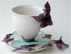 Basil Teacup and Saucer with Spoon