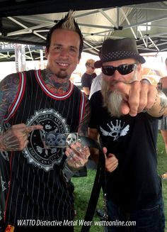 Jeremy Spencer of #FiveFingerDeathPunch with Jon WATTO Watson of WATTO Distinctive Metal Wear and handmade #metal triple skull #beltbuckle. https://www.etsy.com/listing/40410646/rocker-triple-skull-belt-buckle-by-watto?ref=shop_home_active_search_query=skull